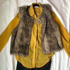 Button down mustard sheer blouse